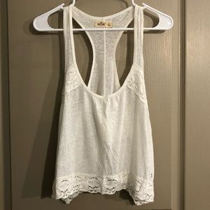 Hollister loose cropped tank white lace S